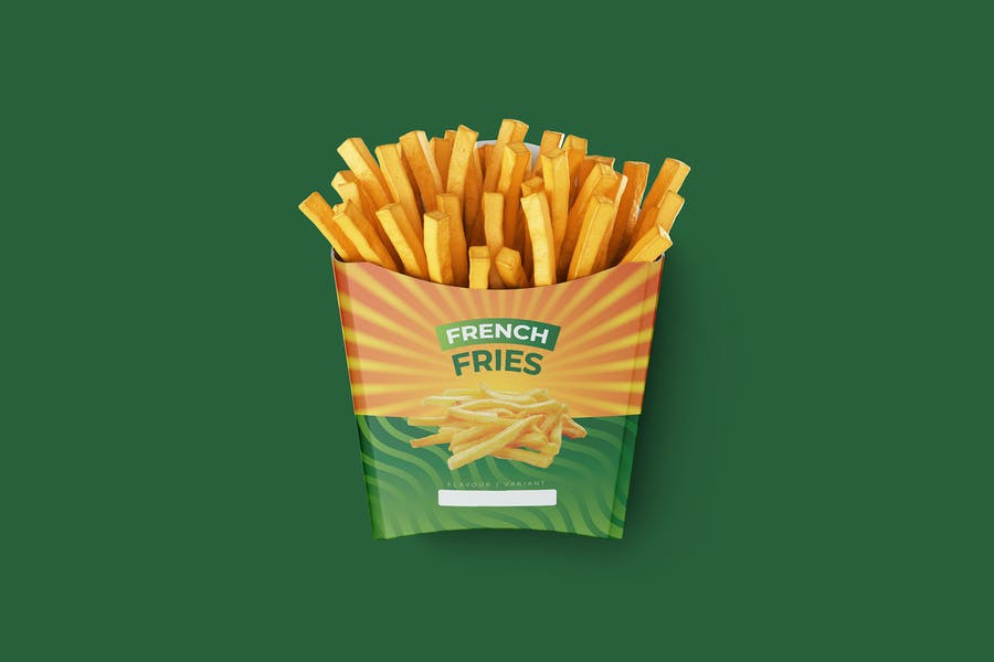 Modern French Fries Pack Mockup PSD