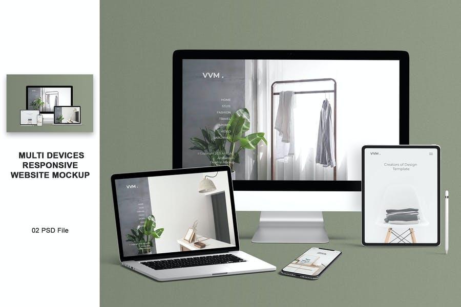 Multi Devices Website Mockup PSD