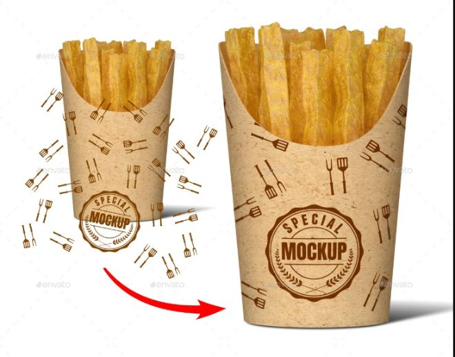 Paper Fries Cup Mockup PSD