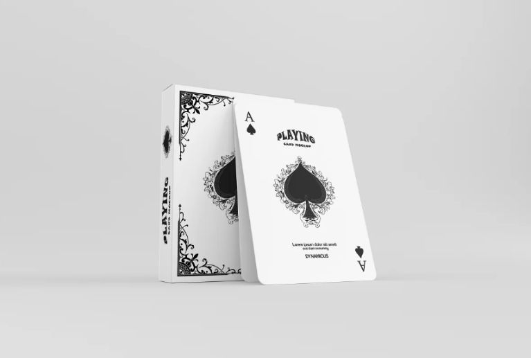 Playing Cards and Box Mockup PSD