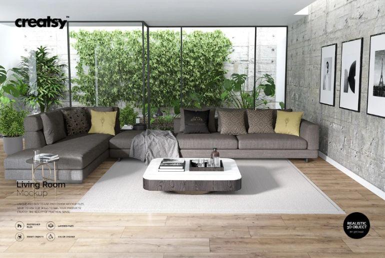 Printable Living Room Mockup PSD