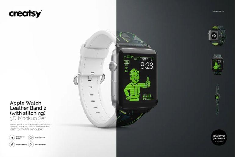 Realistic Apple Watch Laather Band Mockup