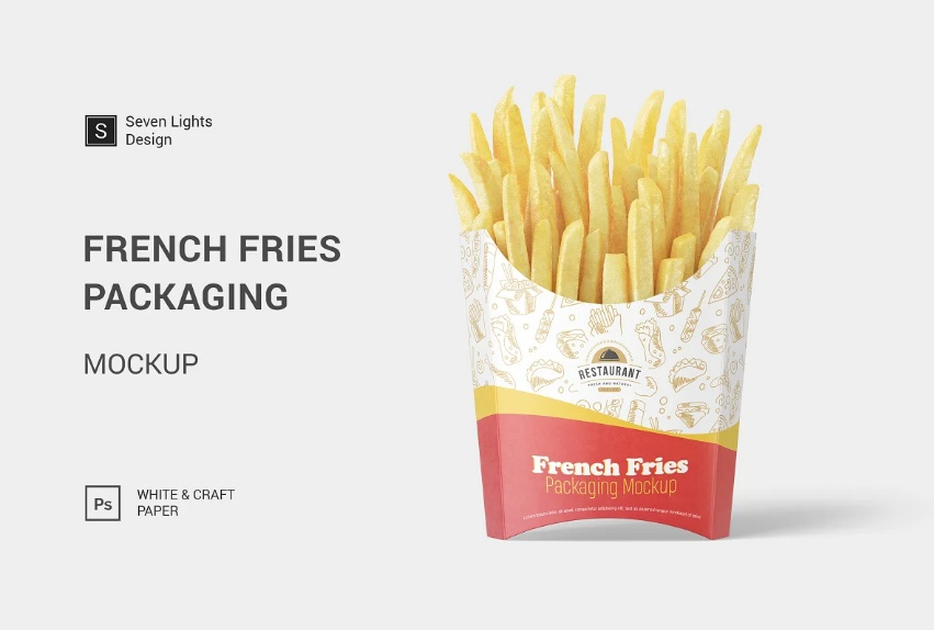Realistic French Fries Packaging Mockup PSD