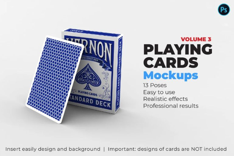 Realistic Playing Card Mockup PSD