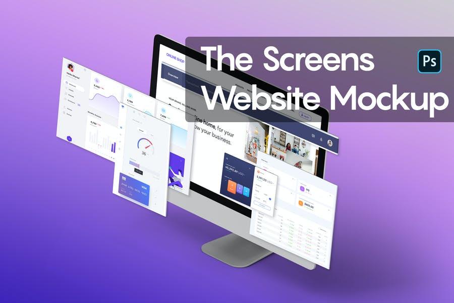 Realistic Screen Website Mockups