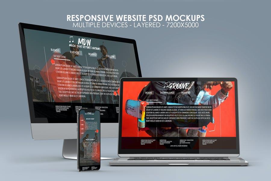 Responsive Website Mockup PSD