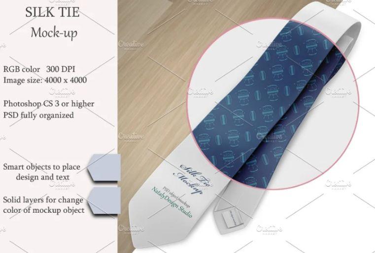 Silk Tie Design Mockup PSD