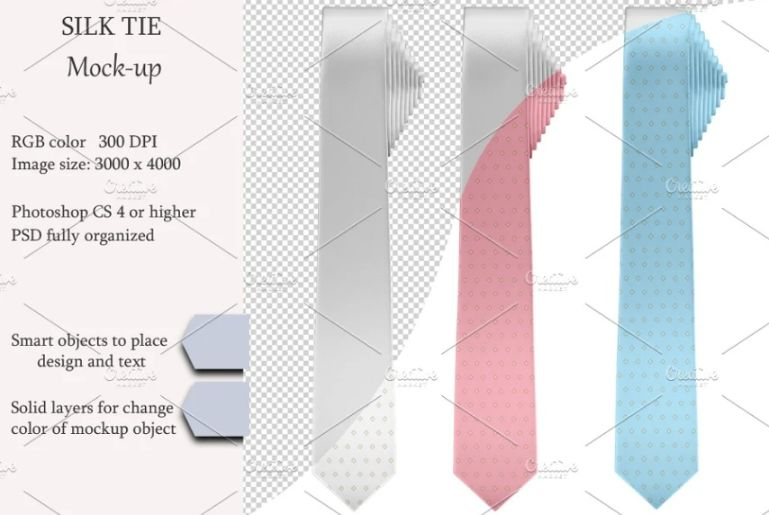 Simple Silk Tie PSD Mockup