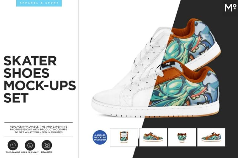 Skater Shoes Mockup PSD
