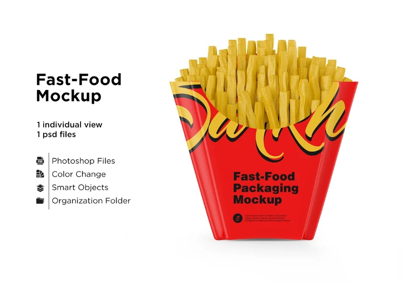 Small Size French Fries Packaging Mockups