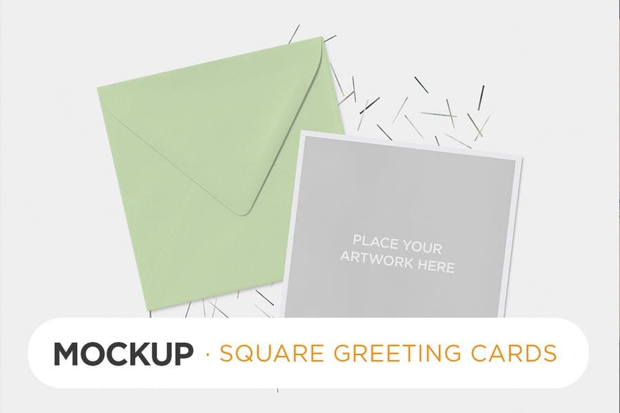 Square Greeting Cards Mockup