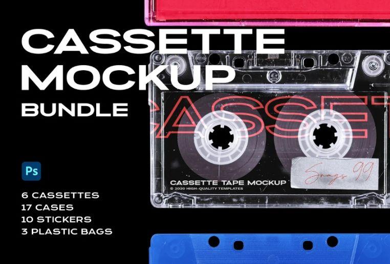Vintage Cassette Mockup PSD Bundle