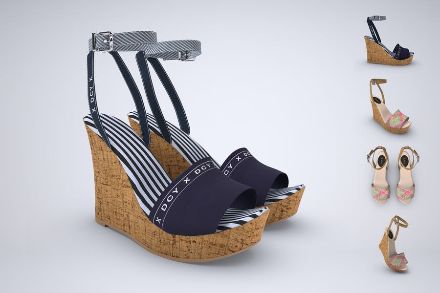 Wedge Sandals Mockup PSD