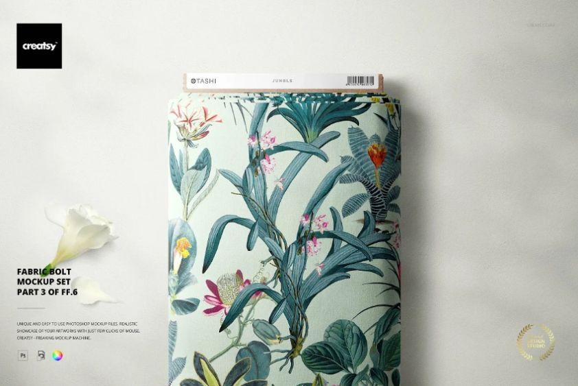 Creative Fabric Bolts Mockup PSD